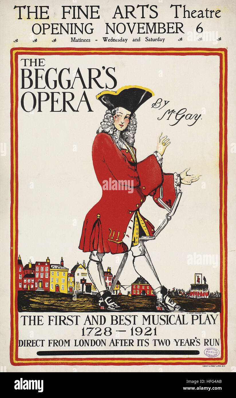 The beggar's opera by Mr. Gay. The Fine Arts Theatre opening November 6. - Stock Image
