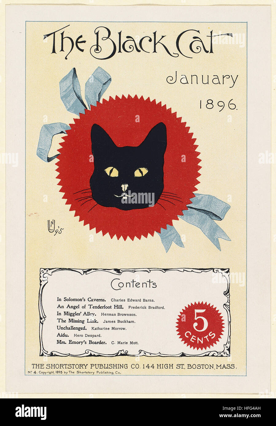 The black cat, January 1896. - Stock Image