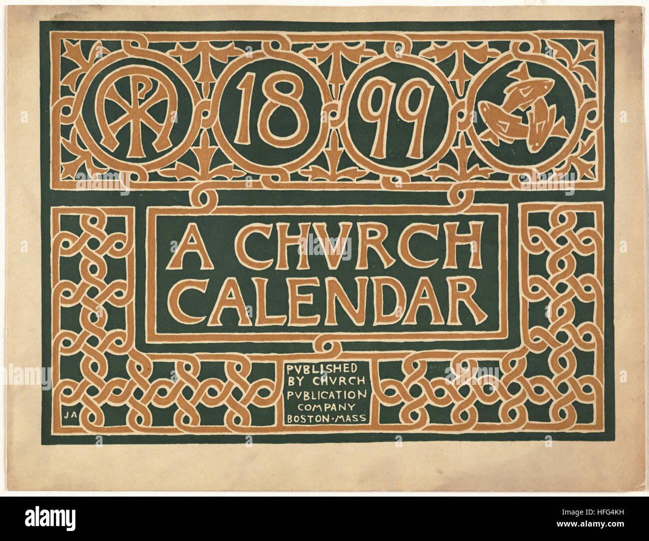 1899, a church calendar - Stock Image