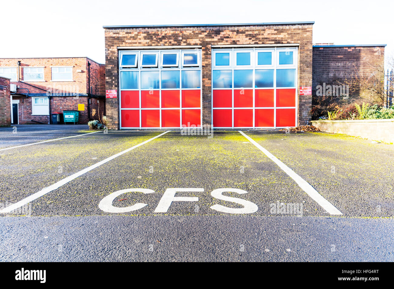 fire station cfs fire brigades building Scunthorpe town contract fire systems North Lincolnshire, England UK - Stock Image