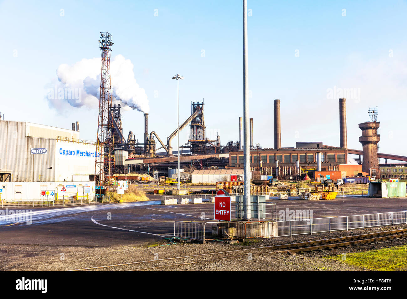 British steel Scunthorpe, Scunthorpe steelworks Iron and Steel Industry factory Scunthorpe town North Lincolnshire, - Stock Image