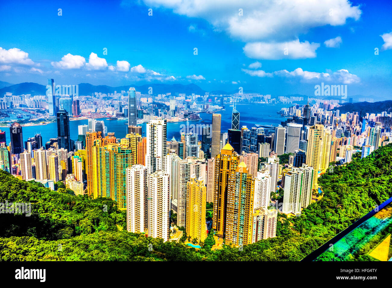 Hong Kong island peak lookout over Kowloon City centre Victoria Harbour sky scrapers apartments buildings vista - Stock Image