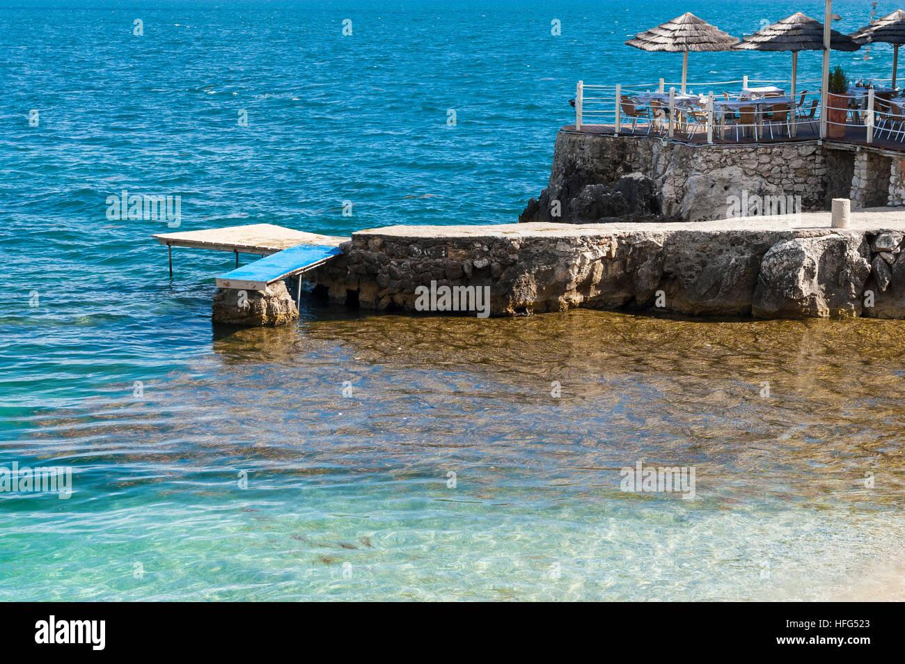 Beach in Nisaki, Corfu, Ionian Islands, Greece, Europe - Stock Image