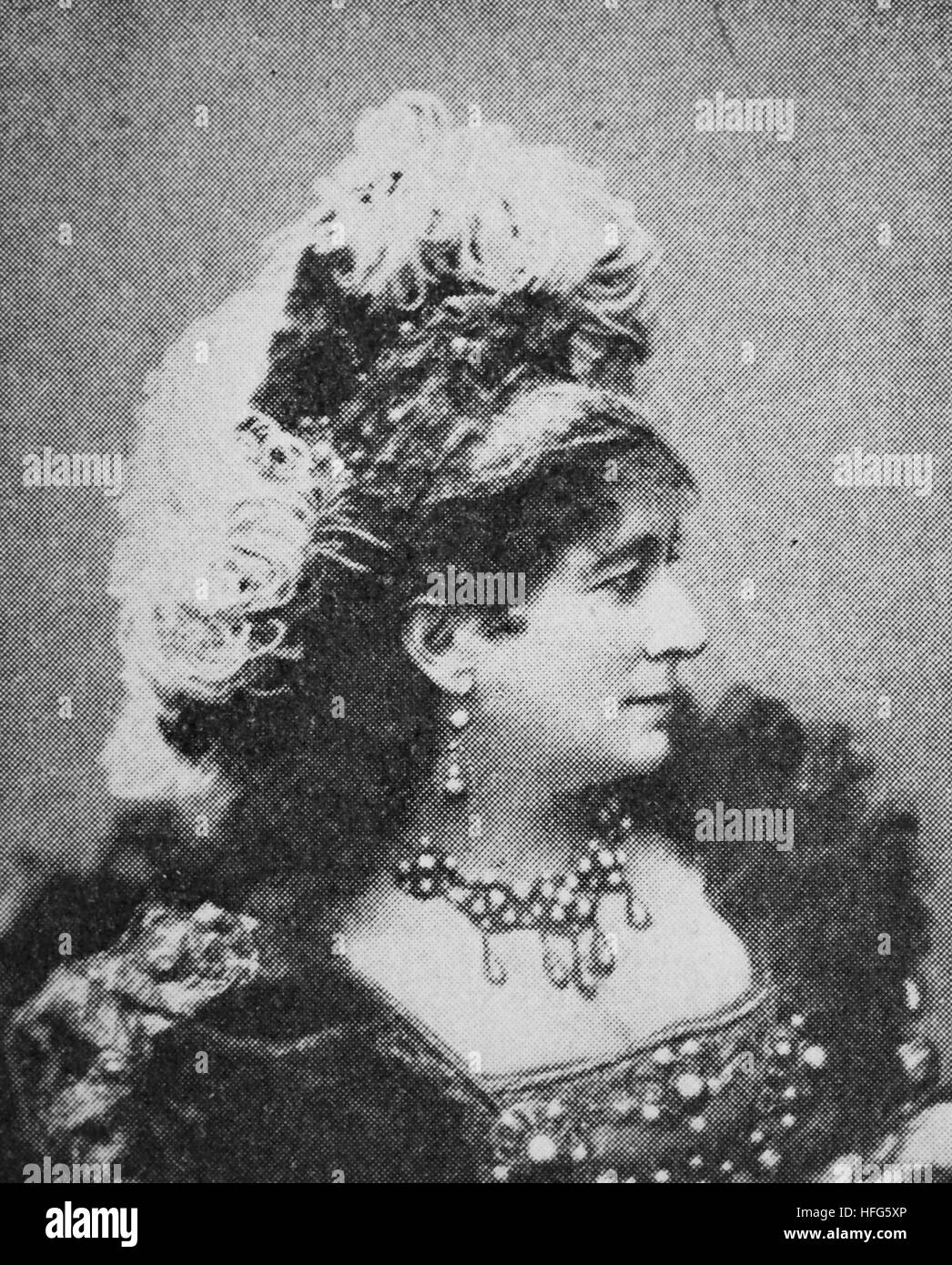 Charlotte Wolter, 1834 - 1897, Austrian actress, reproduction photo from the year 1895, digital improved - Stock Image