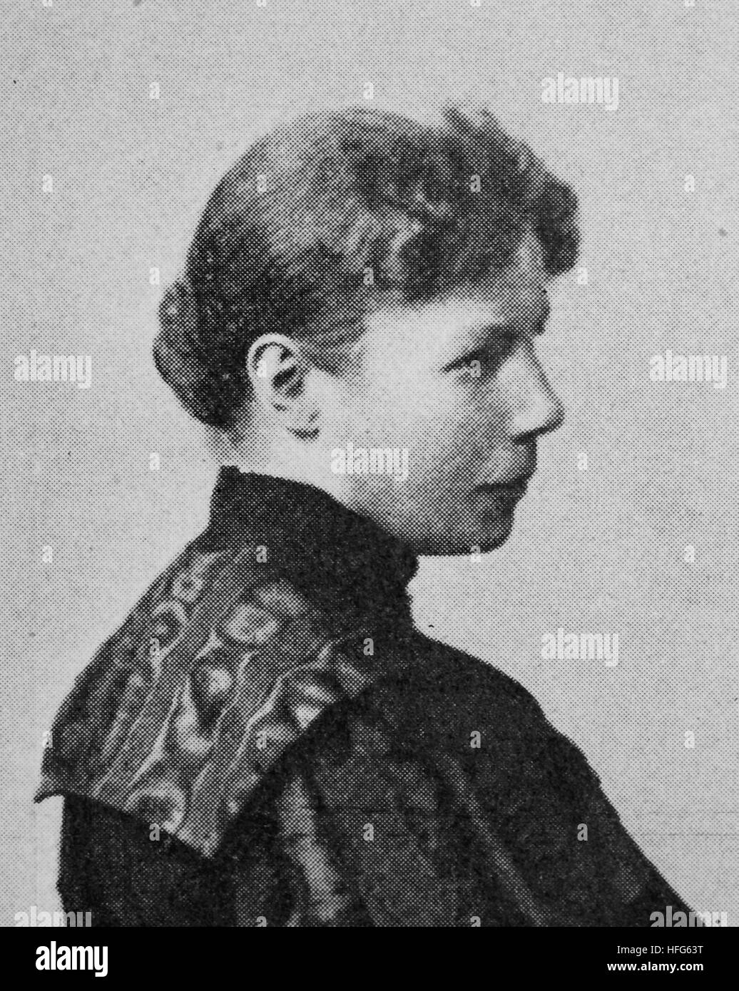 Frida Schanz, 1859 -1944, Was a German youth book author, editor and teacher, reproduction photo from the year 1895, - Stock Image