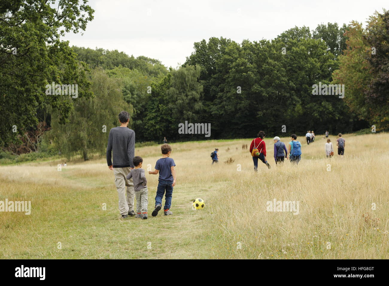 Families out on Hampstead Heath - Stock Image