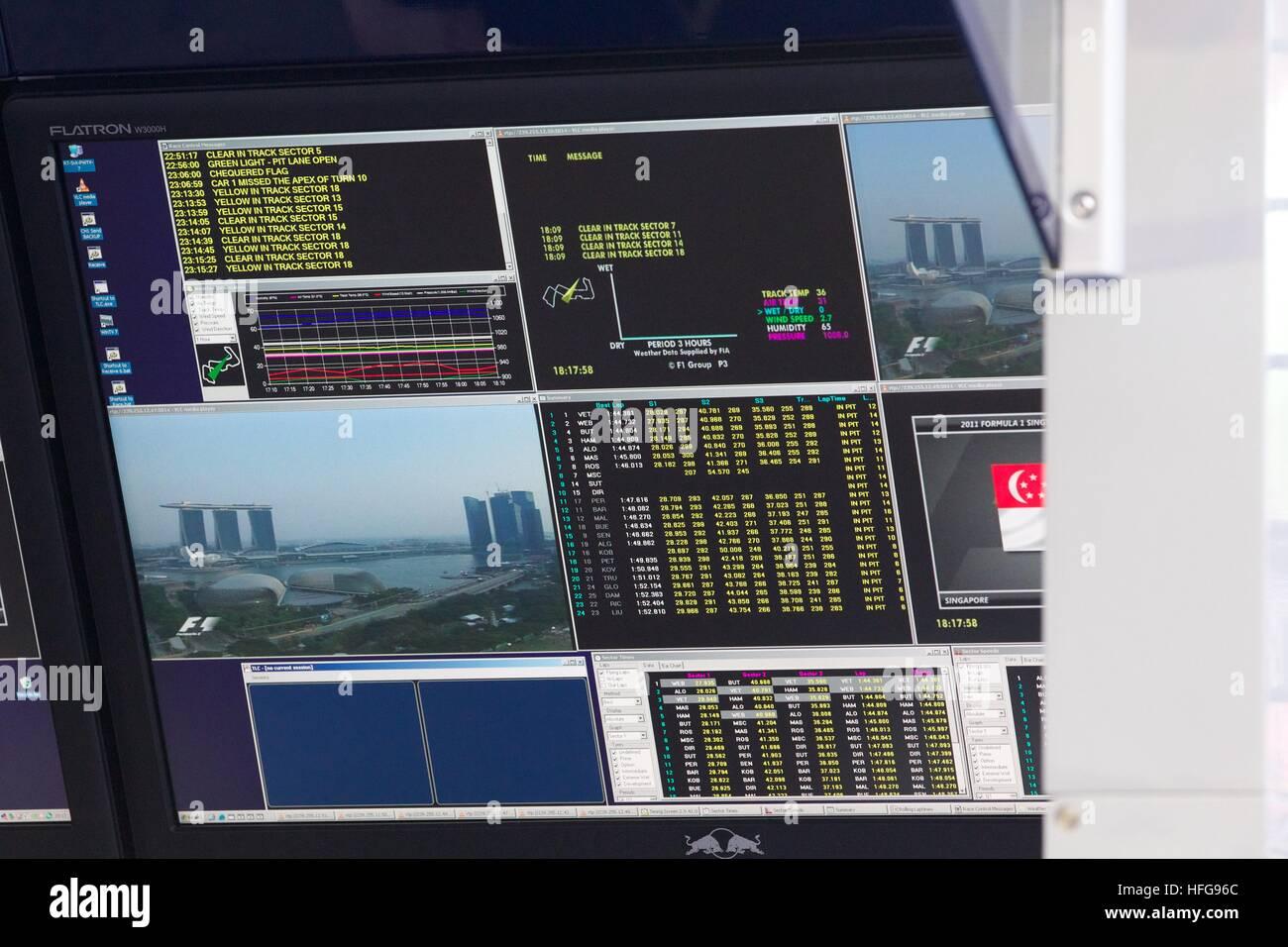 Singapore F1 grand prix formula one screen monitor data Stock Photo