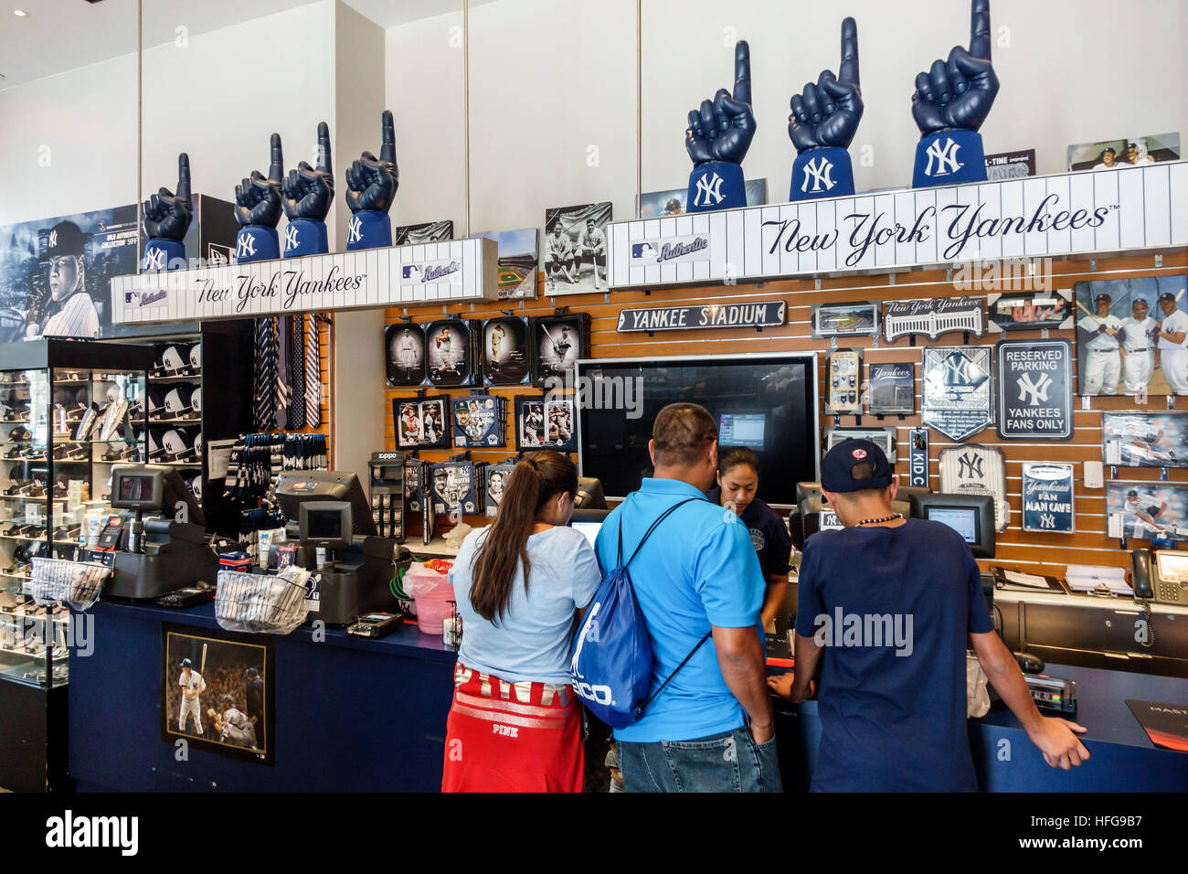 e7be1202604 New York New York City NYC Bronx NY Yankees Yankee Stadium ballpark shopping  team store gift shop sports team merchandise baseball Asian man woman cas