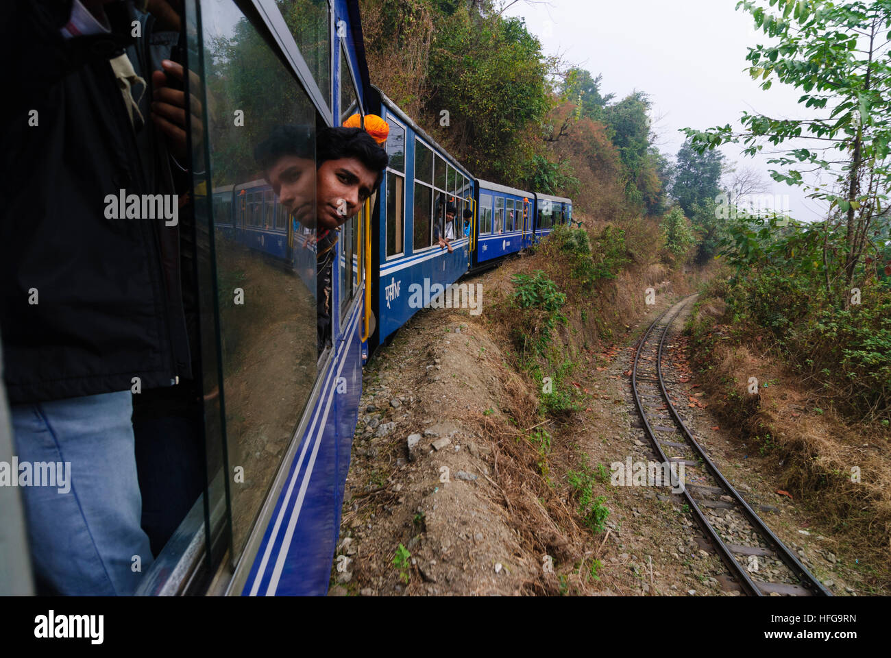 Kurseong: Darjeeling Himalayan railway on a spit, West Bengal, Westbengalen, India - Stock Image
