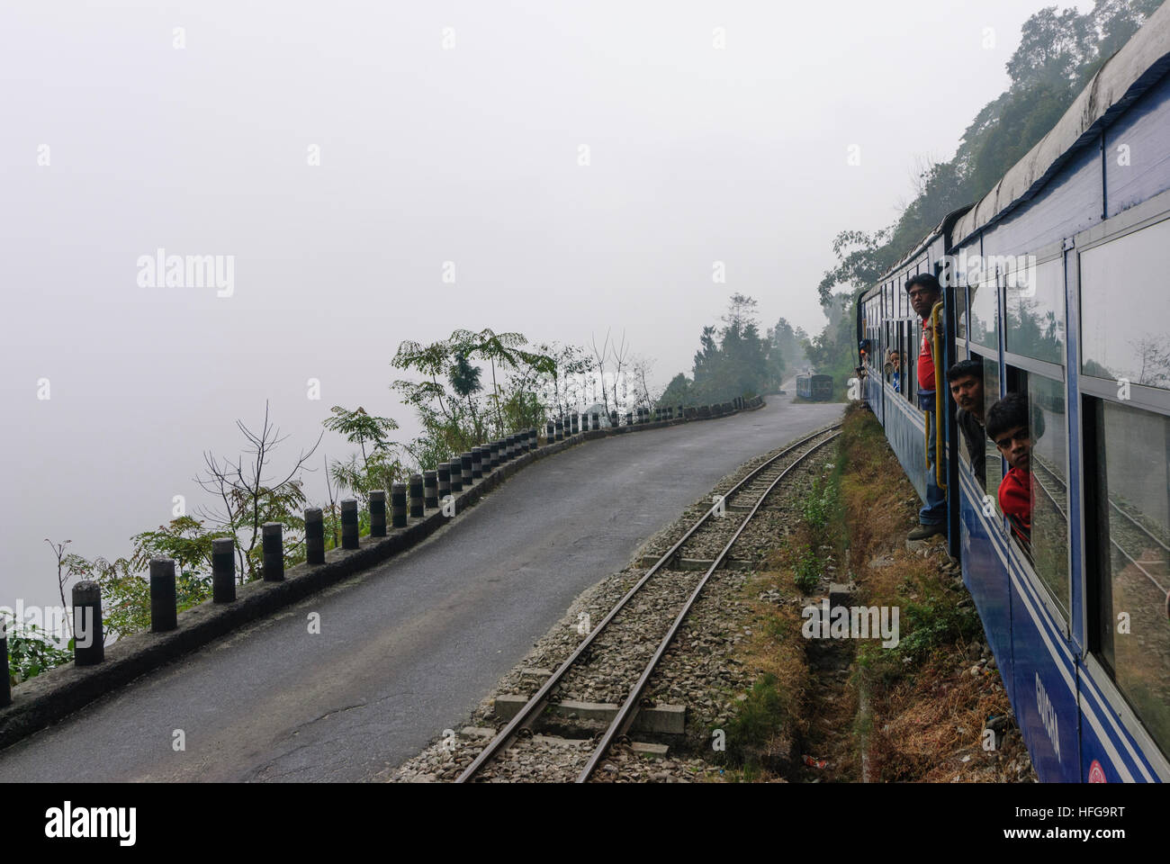 Kurseong: Himalayan Railway Darjeeling with a turn to a spur, West Bengal, Westbengalen, India - Stock Image