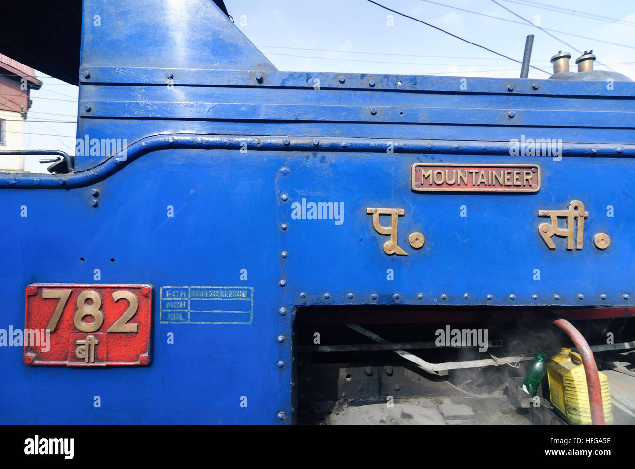 Darjeeling: Steam train of Darjeeling Himalayan railway at the station of Darjeeling, West Bengal, Westbengalen, - Stock Image