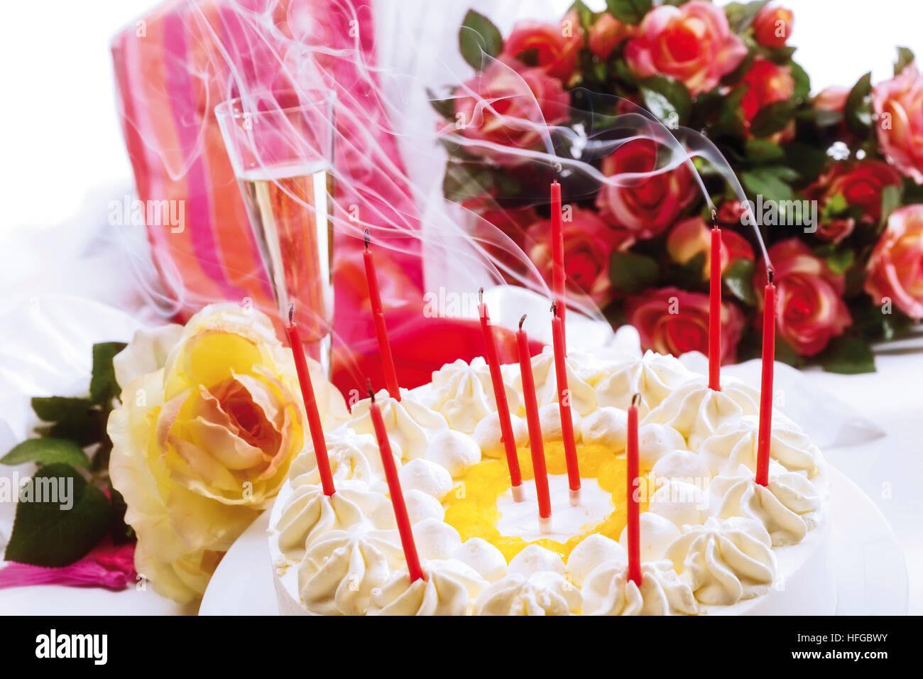 Birthday Cake Decorated Candles Roses Stock Photos Birthday Cake