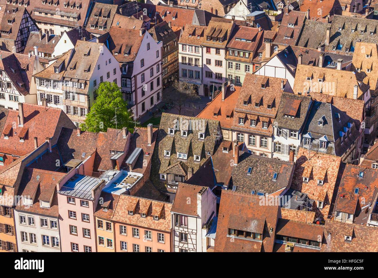 View over the rooftops of the historic center, Strasbourg, Alsace, France - Stock Image