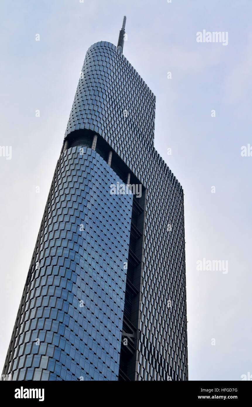 Zefing Tower the tallest building in Nanjing, China and the 13th tallest building in the world at 450 meters. Stock Photo