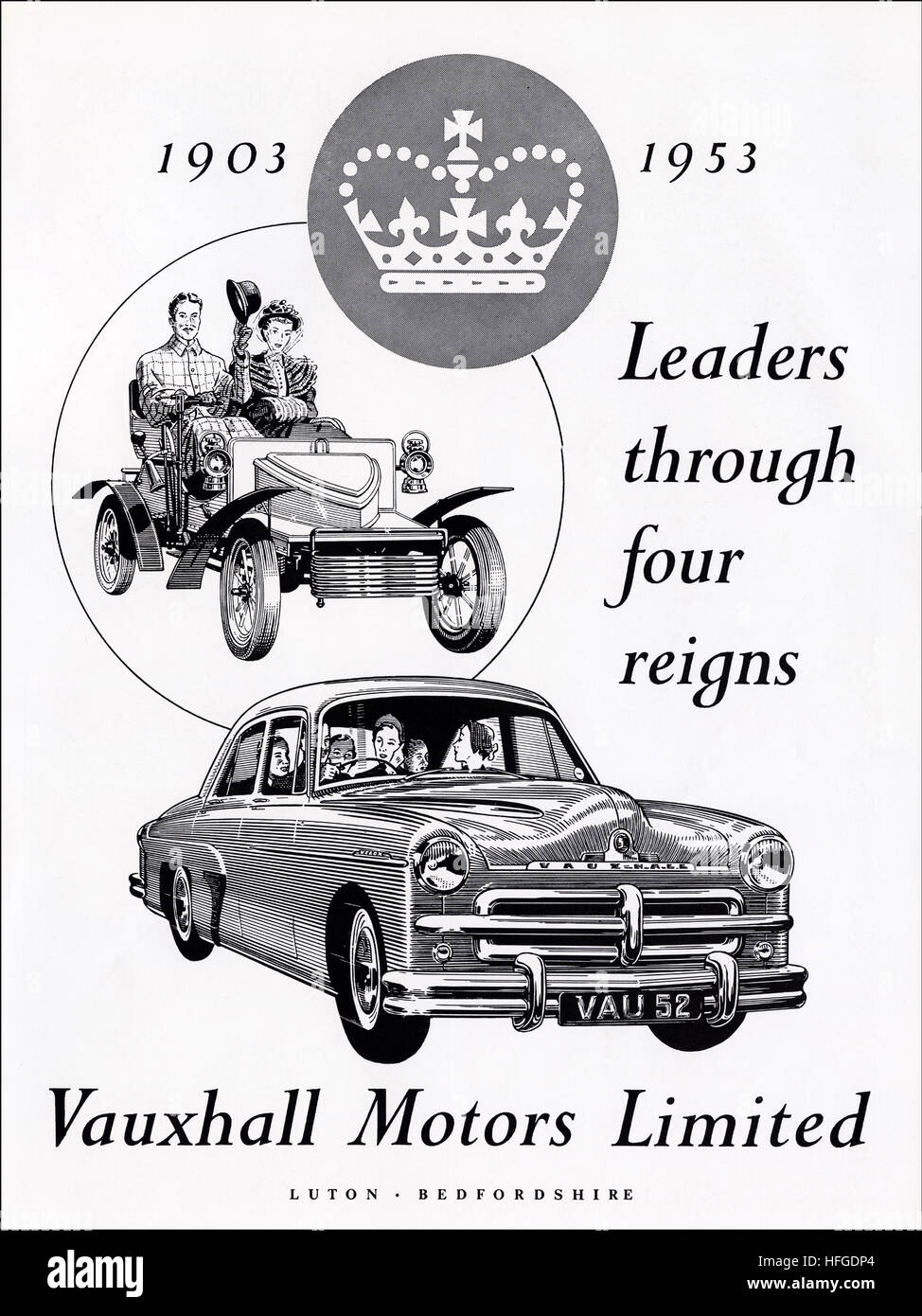 1950s advert advertising from original old vintage English magazine dated 1953 advertisement for Vauxhall Motors - Stock Image