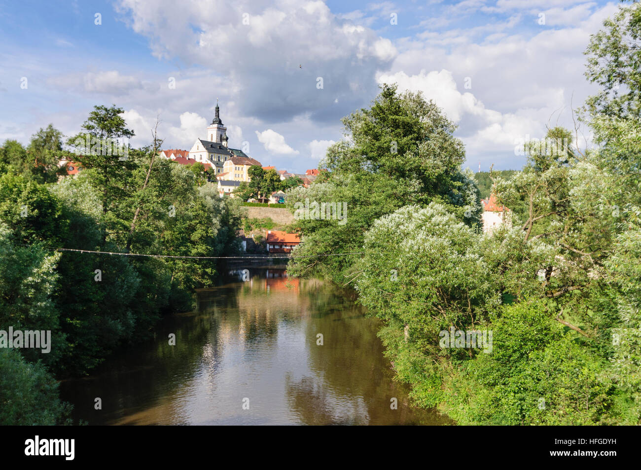 Kladruby u Stribra (Kladrau): City church over river Uhlavka, , Plzensky, Pilsner Region, Plzen Region, Czech - Stock Image
