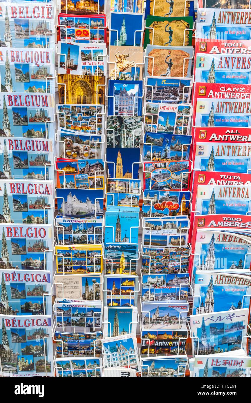 Belgium, Antwerp, postcards - Stock Image