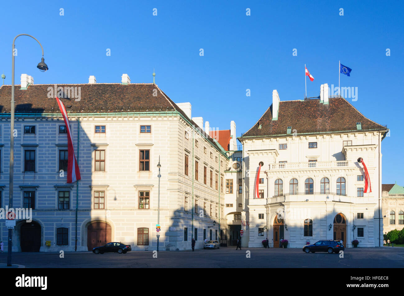 Wien, Vienna: Amalienburg and the Leopoldine tract of the Hofburg with the office space of the Federal President - Stock Image