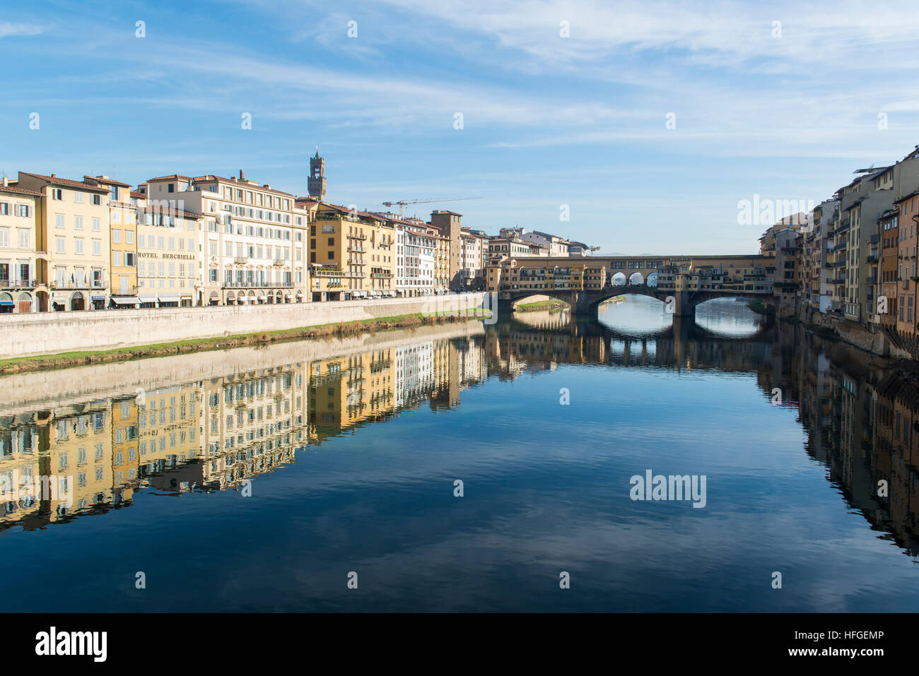 Ponte Vecchio bridge on the Arno river in Florence, Italy - Stock Image