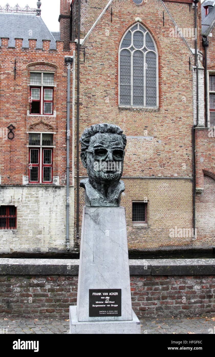 Bust of one-time Brugge mayor Frank Van Acker by Fernand Vander Plancke.in Brugge Bruges Belgium Stock Photo