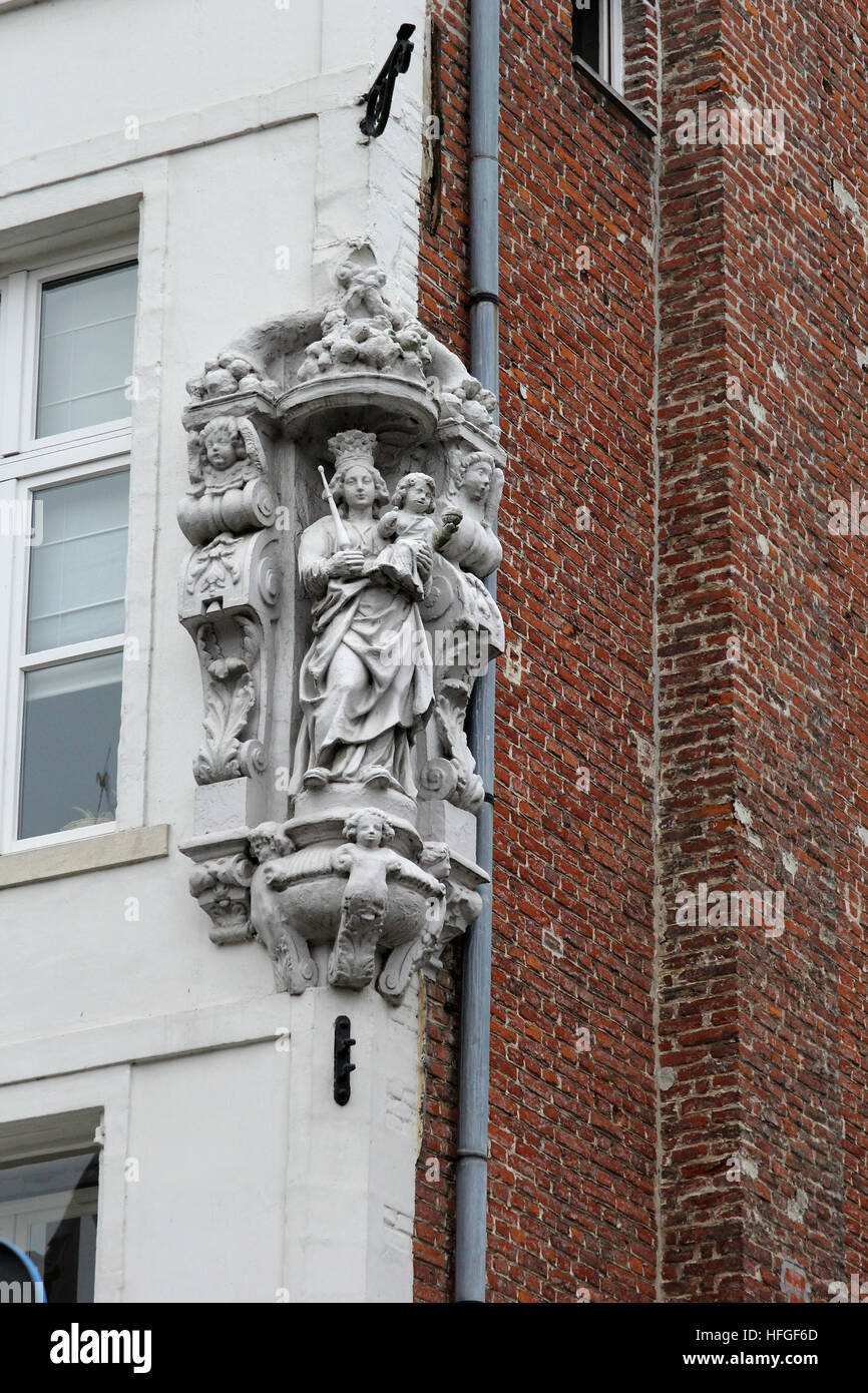 Ave Maria, Madonna and Child, sculpture on corner of a building in Bruges Belgium Stock Photo