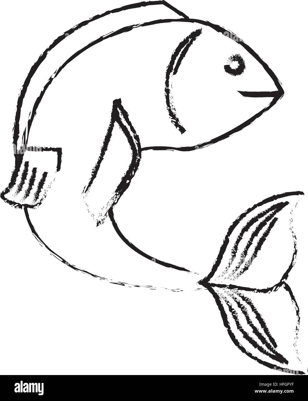 sea fish icon - Stock Image