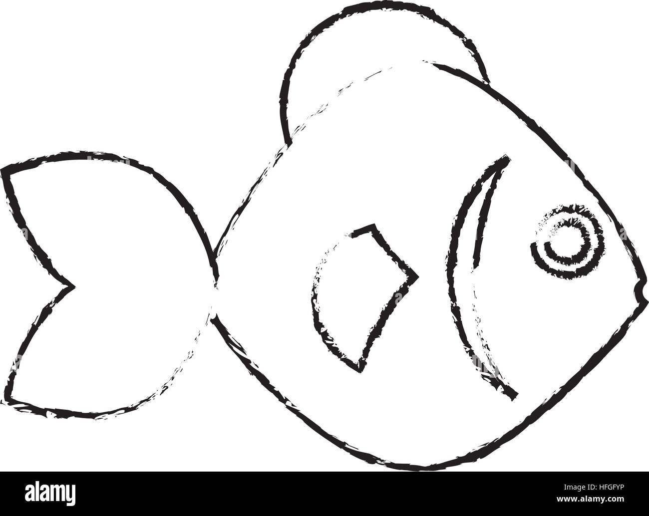 sea fish icon - Stock Image