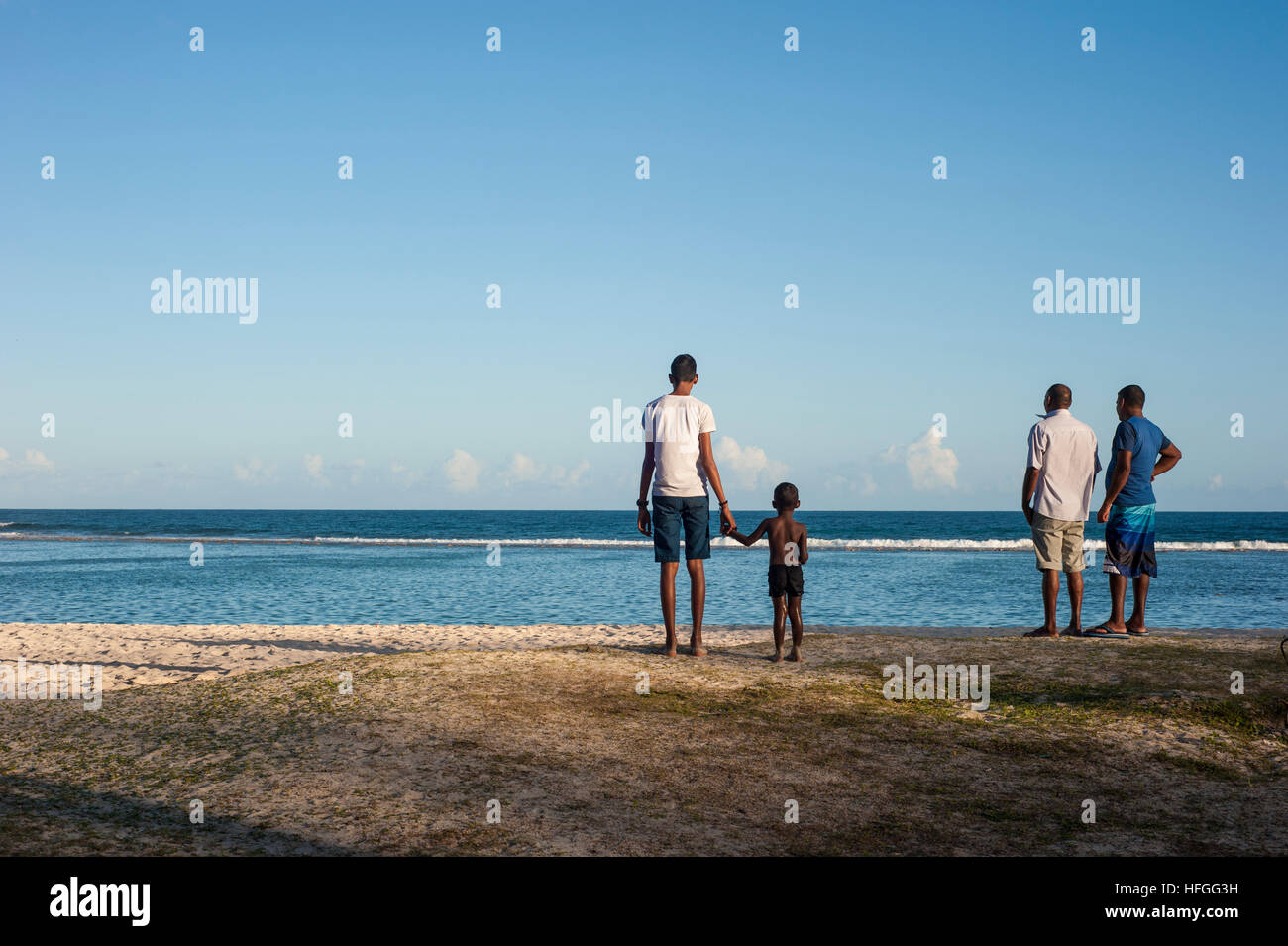 La Cambuse Beach located near the village of Mon Desert, in the southeast part of Mauritius. Stock Photo