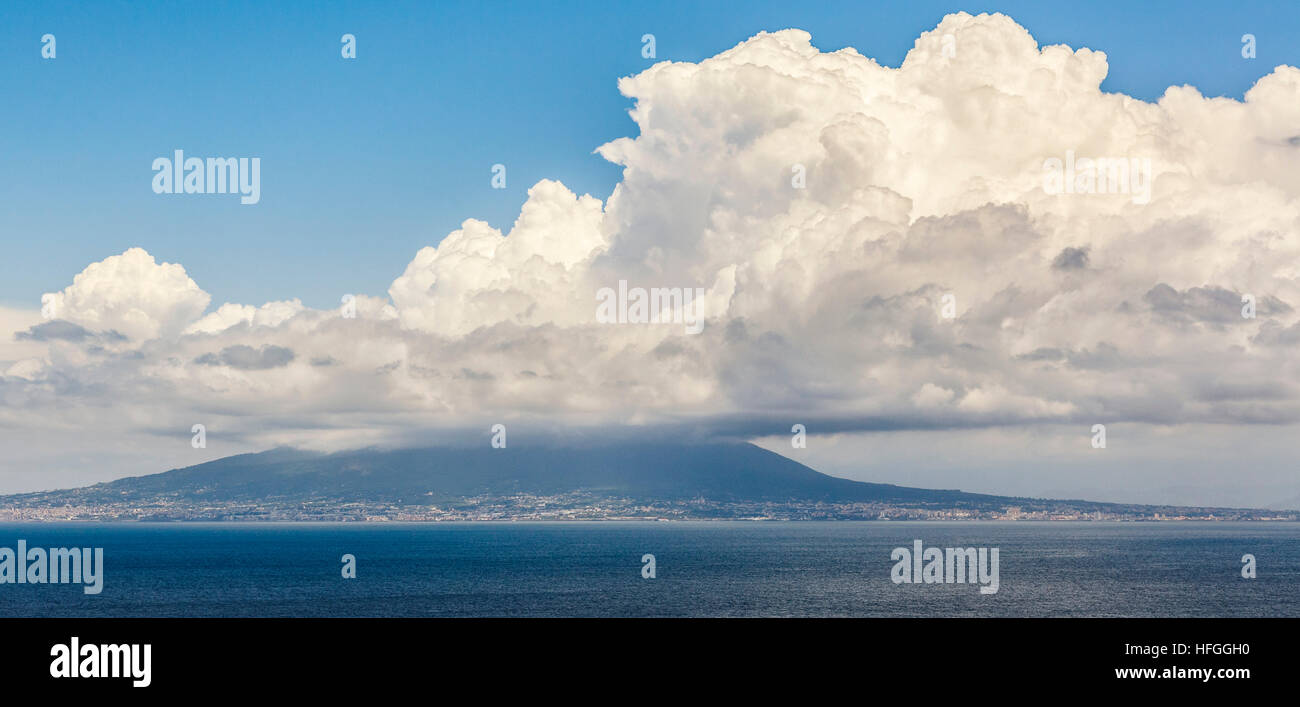 Mount Vesuvius From Across The Bay Of Naples Famous For Its 79AD Eruption That Destroyed Pompeii In Campania Southern Italy
