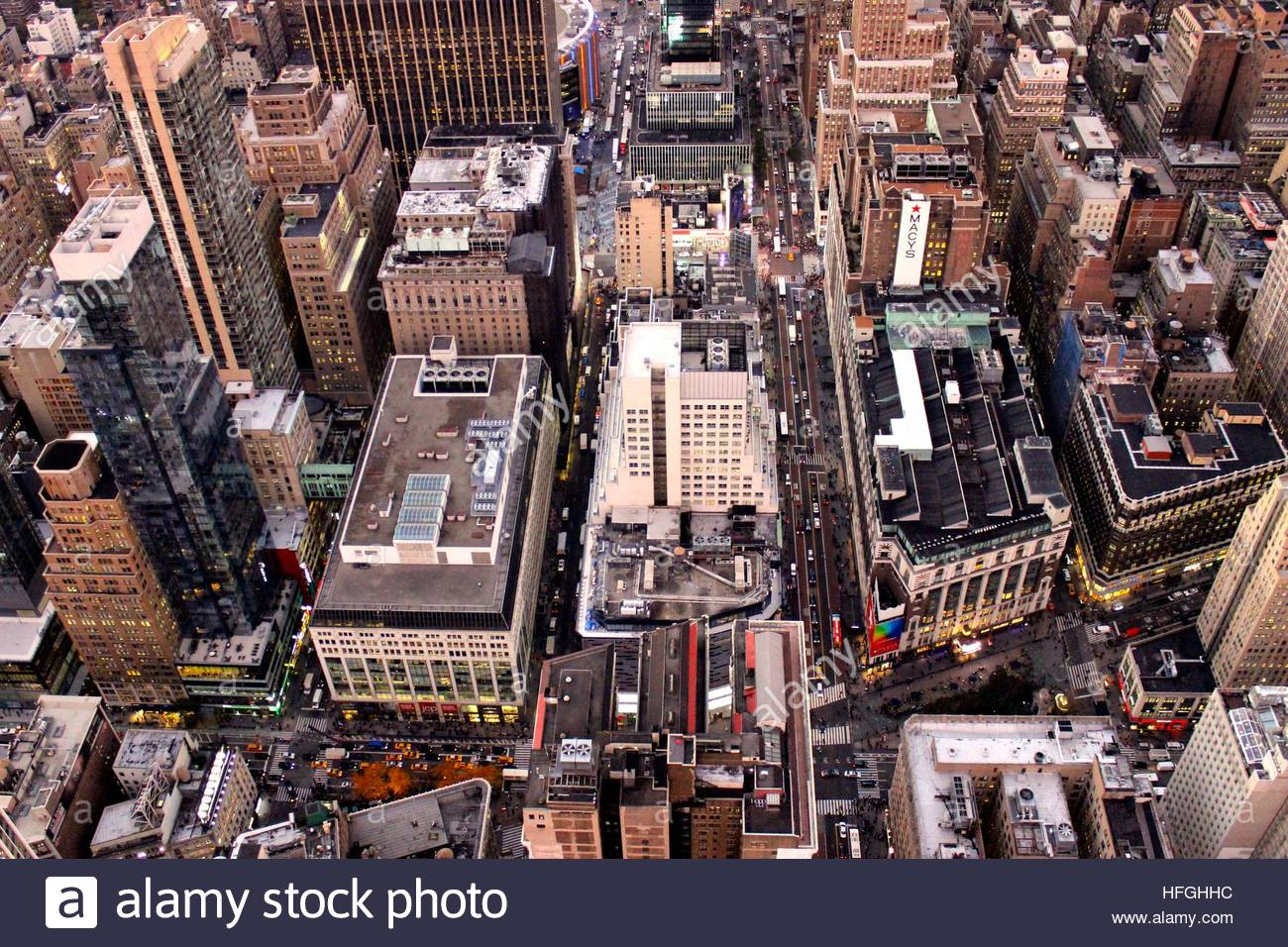 Sky view of buildings in New York City, New York - Stock Image