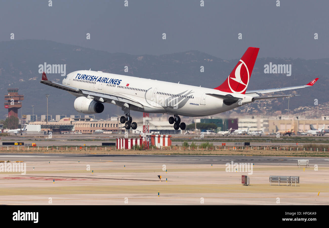 Turkish Airlines Airbus A330-300 landing at El Prat Airport in Barcelona, Spain. - Stock Image