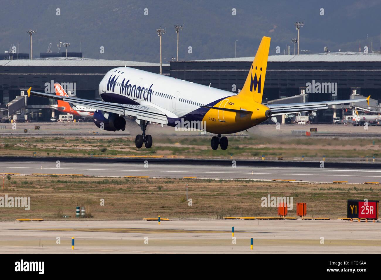 Monarch Airlines Airbus A321 landing at El Prat Airport in Barcelona, Spain. - Stock Image