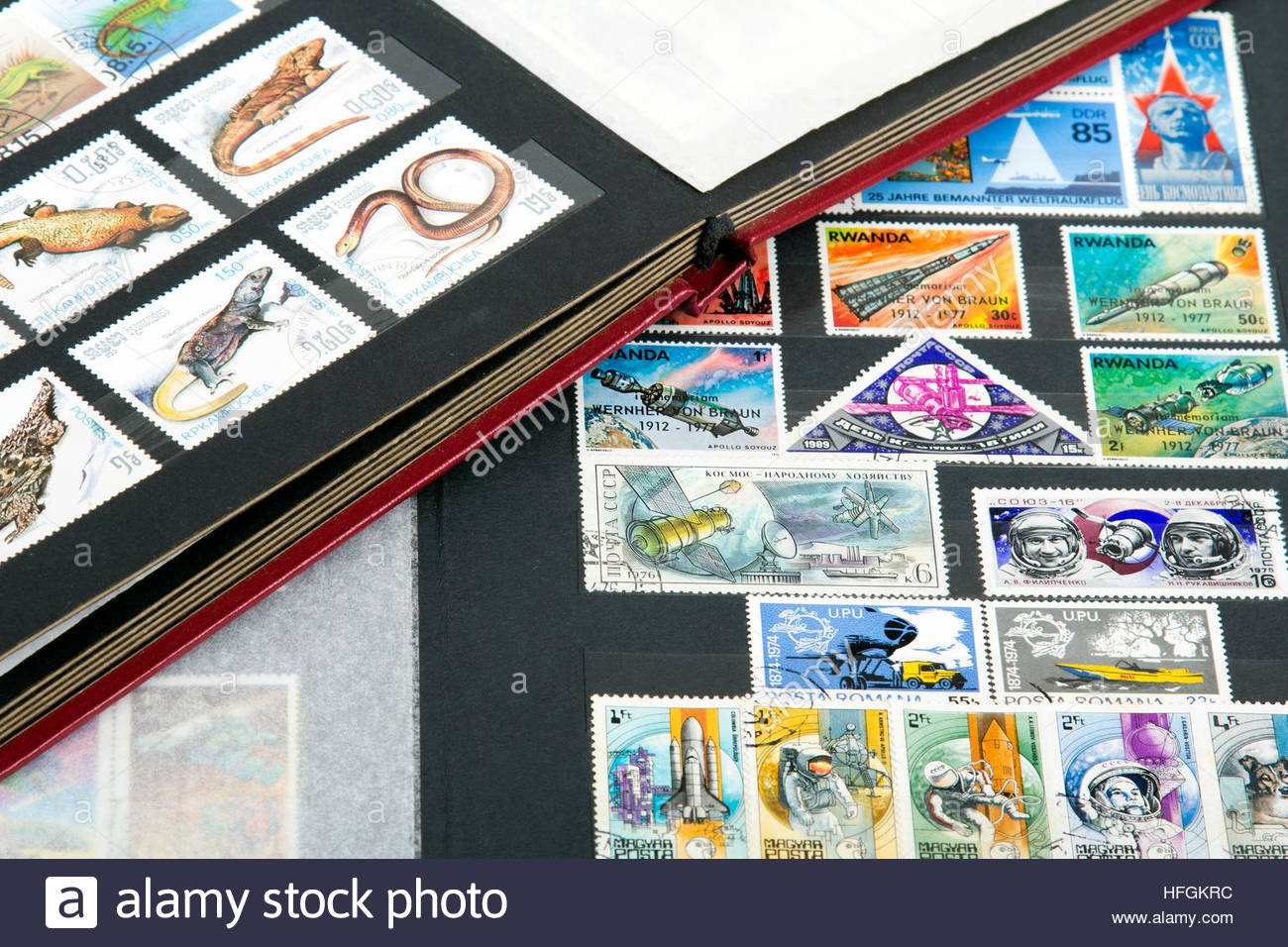 stamp album with stamps Stock Photo