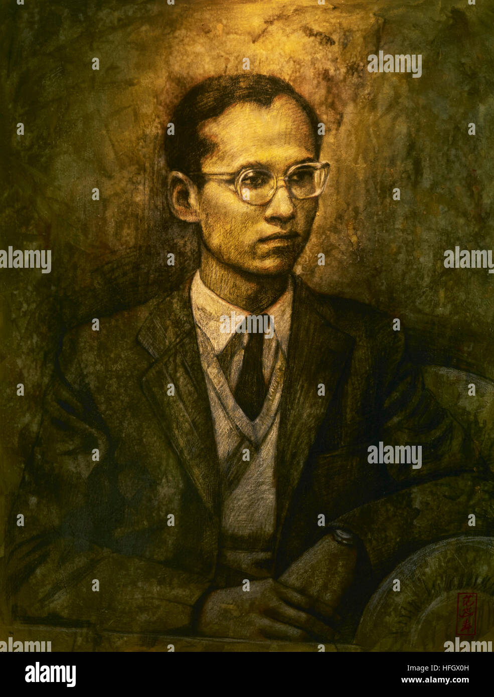 Painting of the late revered Thailand King Bhumibol Adulyadej Rama 1X. Died 13th October 2016 - Stock Image