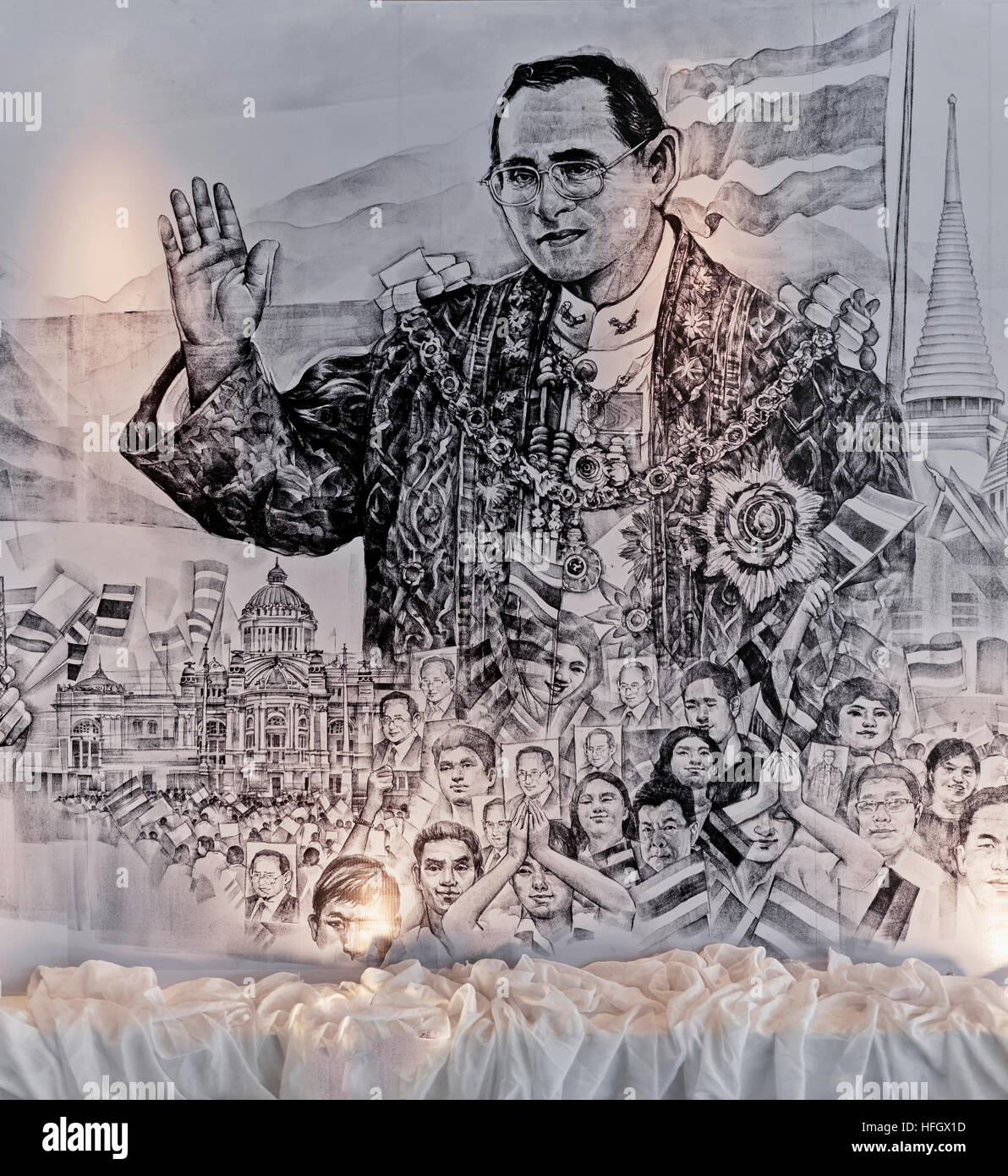 Illustrated sketch of the life and family of the late revered Thailand King Bhumibol Adulyadej Rama 1X. Black and - Stock Image