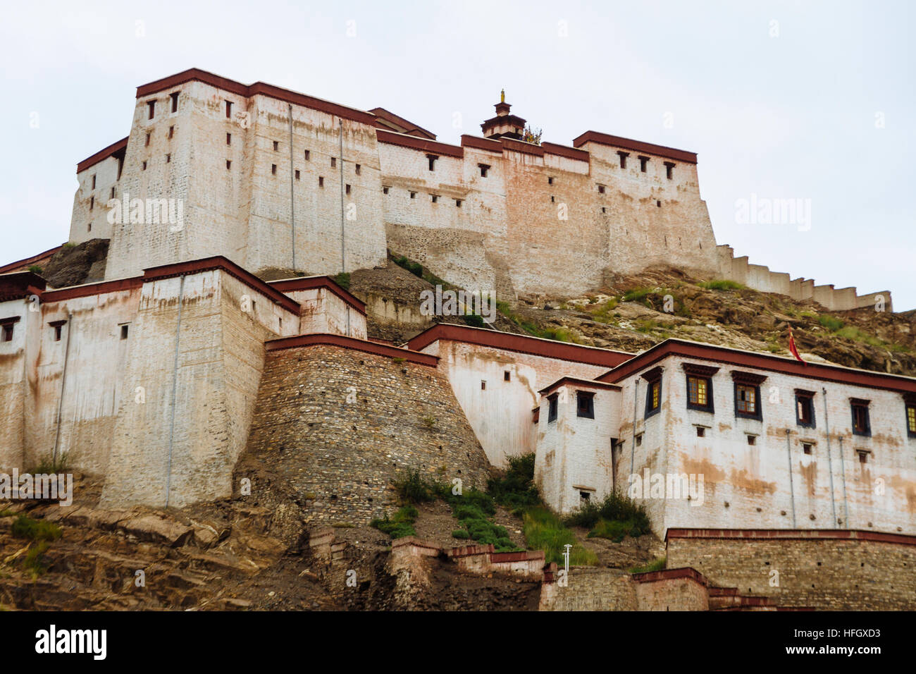 The view of the Great Gyantse Castle in the daytime. Stock Photo