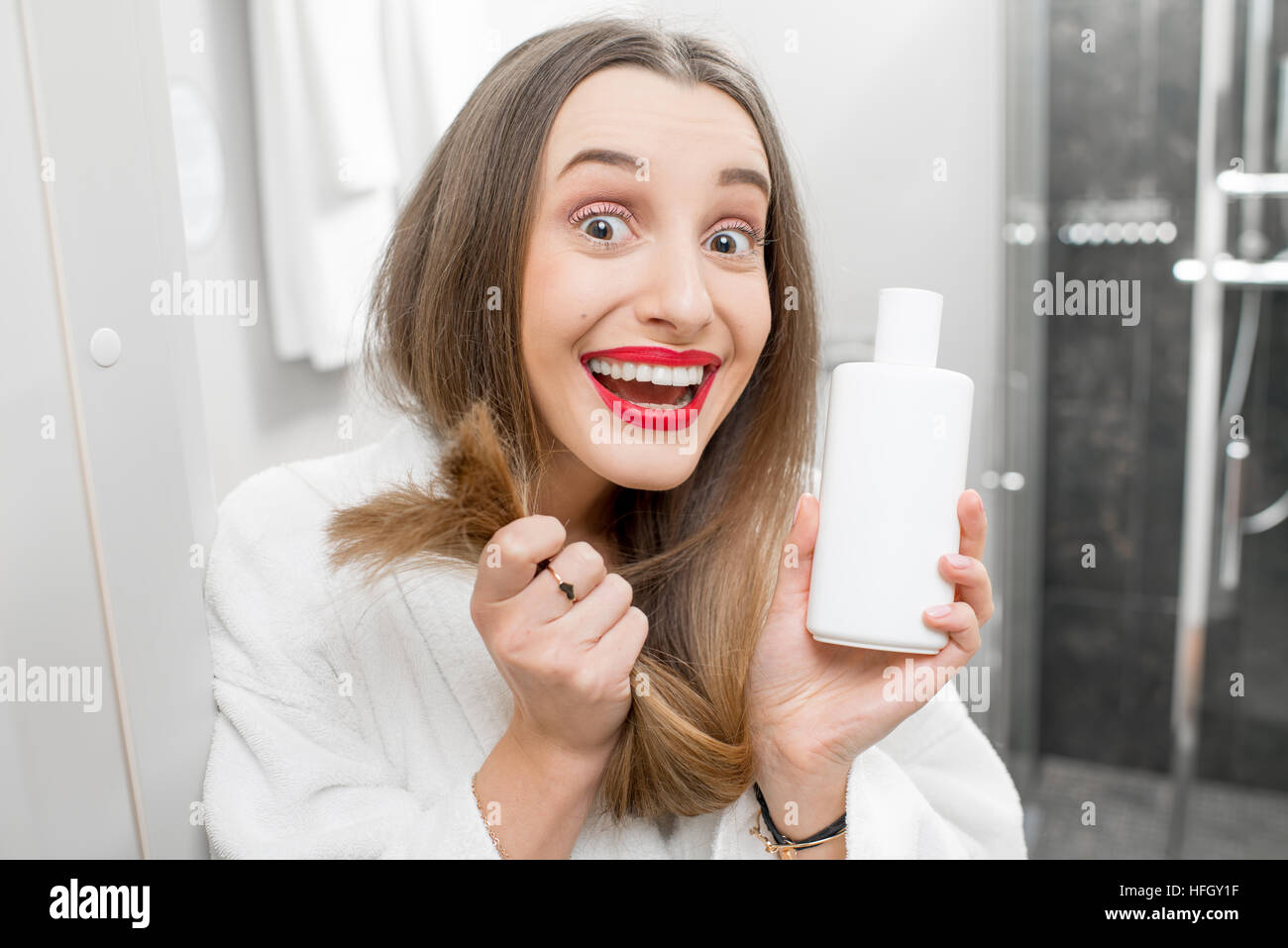 Hair care with shampoo or conditioner - Stock Image