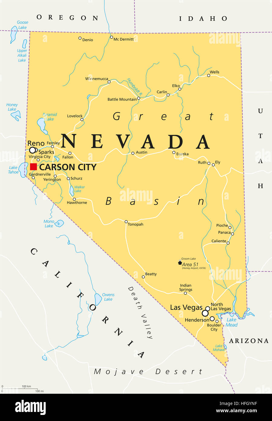Nevada political map with capital Carson City. State in the ...