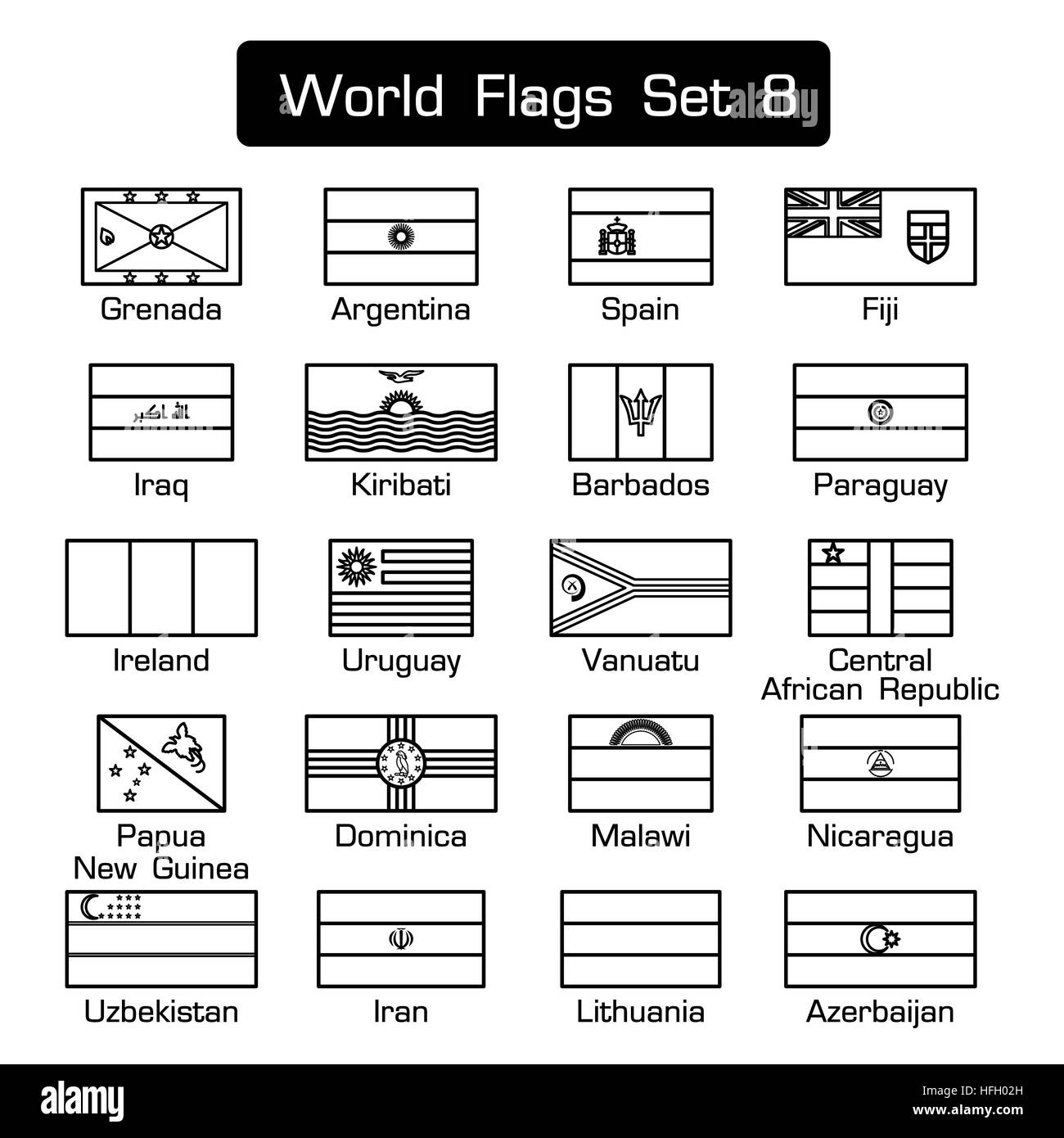 World flags set 8 . simple style and flat design . thick outline . - Stock Image