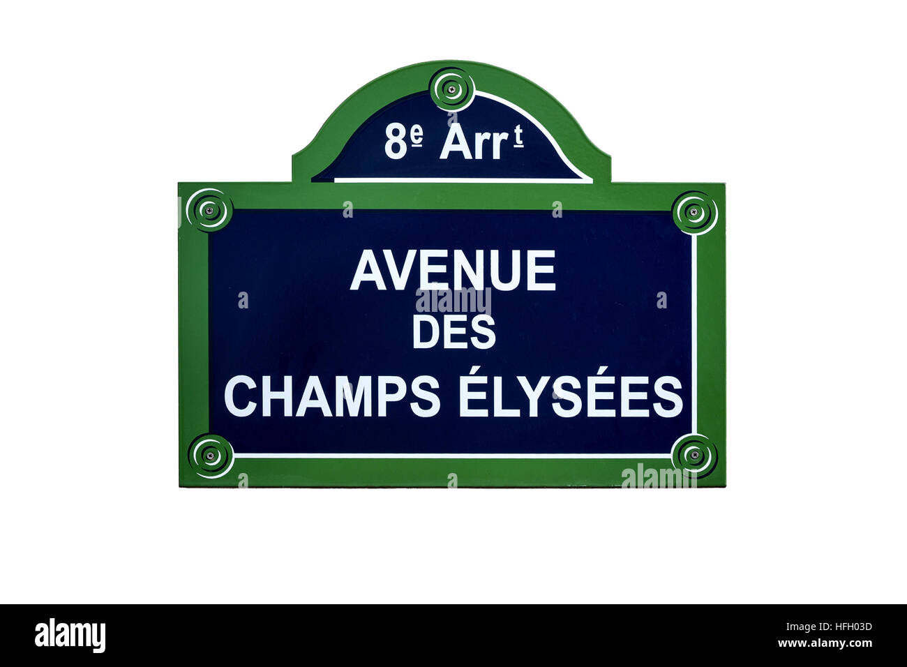 Avenue des Champs Elysees street sign, in the 8th arrondissement of Paris, France. One of the most famous streets - Stock Image