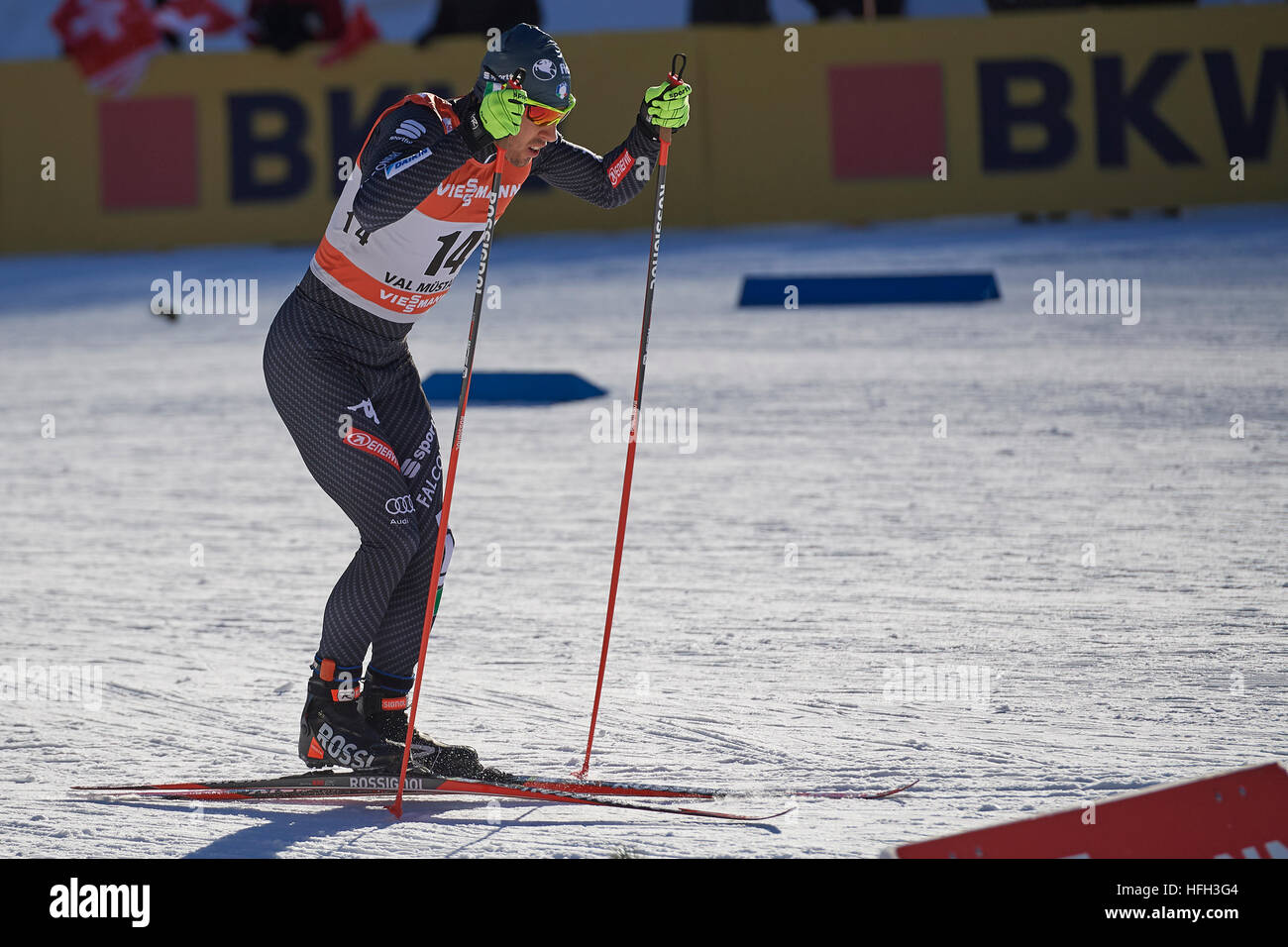 Val Müstair, Switzerland, 31st December 2016. Federico Pellegrino during the Men' Sprint competition at the - Stock Image