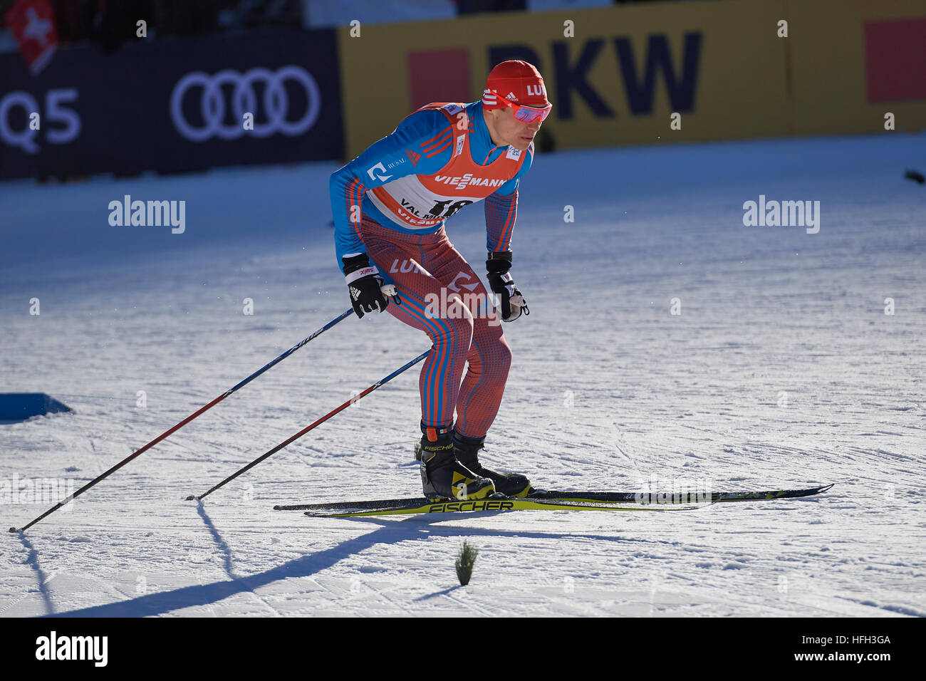 Val Müstair, Switzerland, 31st December 2016. Andrey Larkov during the Men' Sprint competition at the FIS Cross - Stock Image
