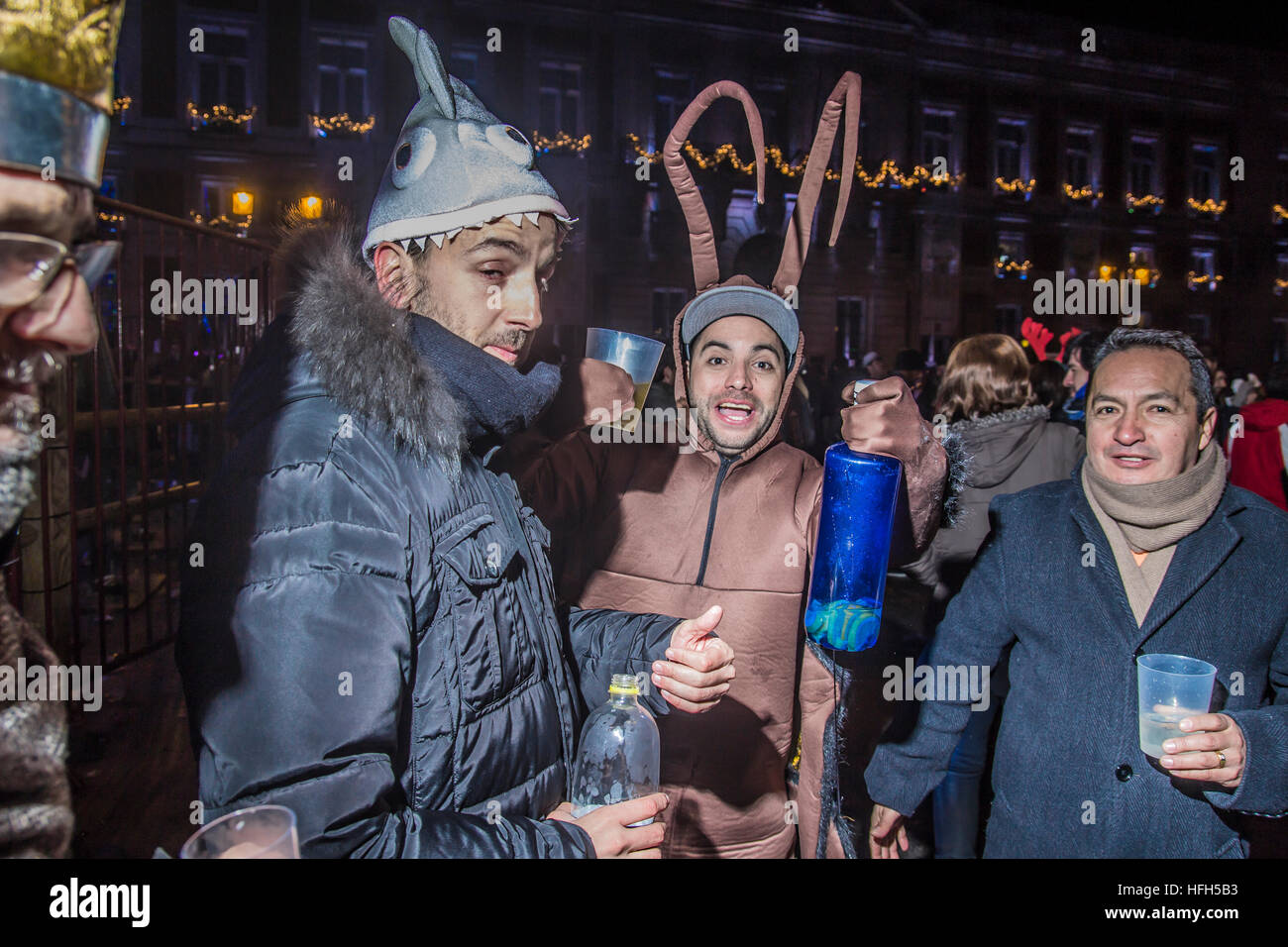 Madrid, Spain. 1st Jan, 2017. celebrations of happy new year 2017 in square sol people in the center of Madrid celebrates - Stock Image