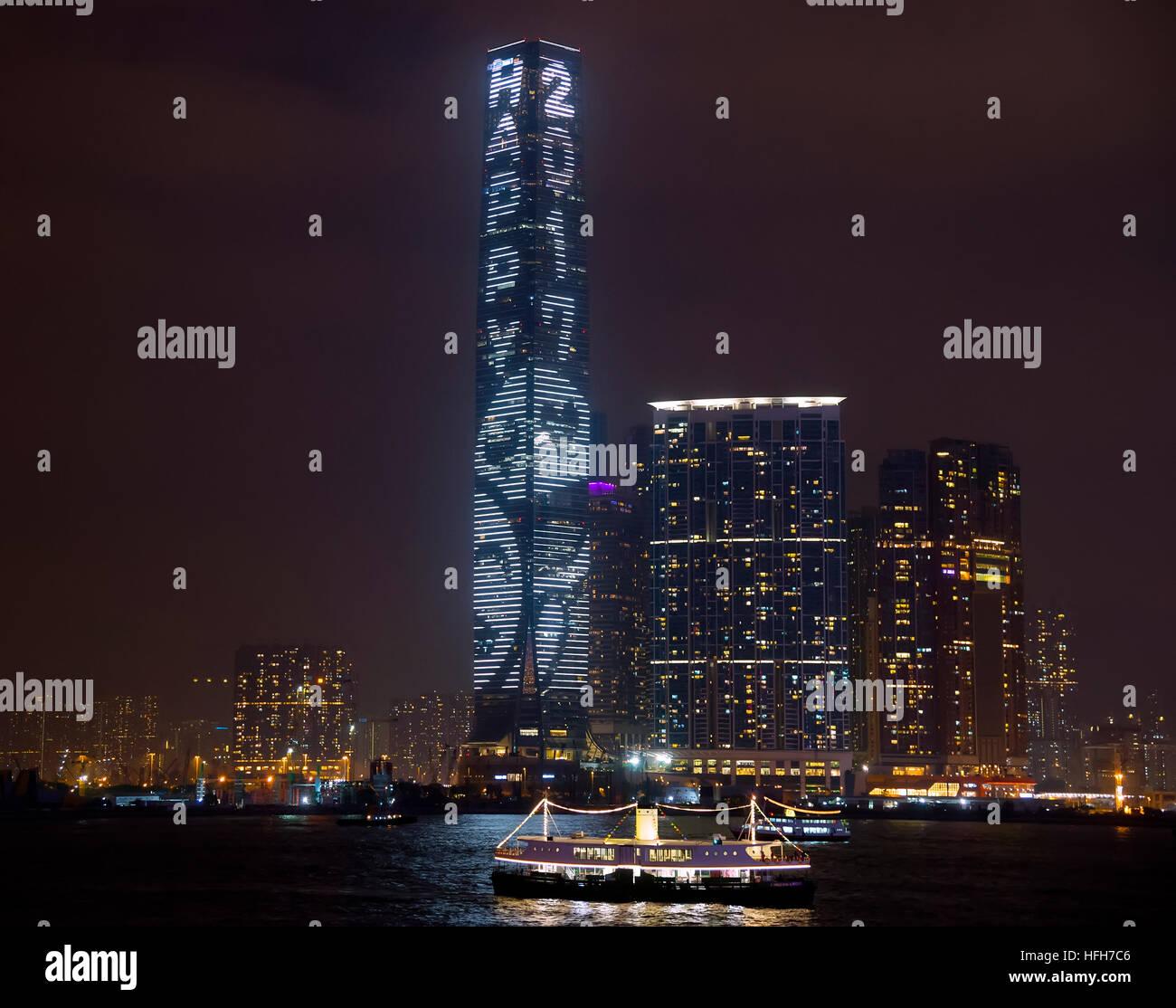 Hong Kong. 1st January, 2017. Hong Kong's tallest building, The International Commerce Center ICC lighting for new Stock Photo