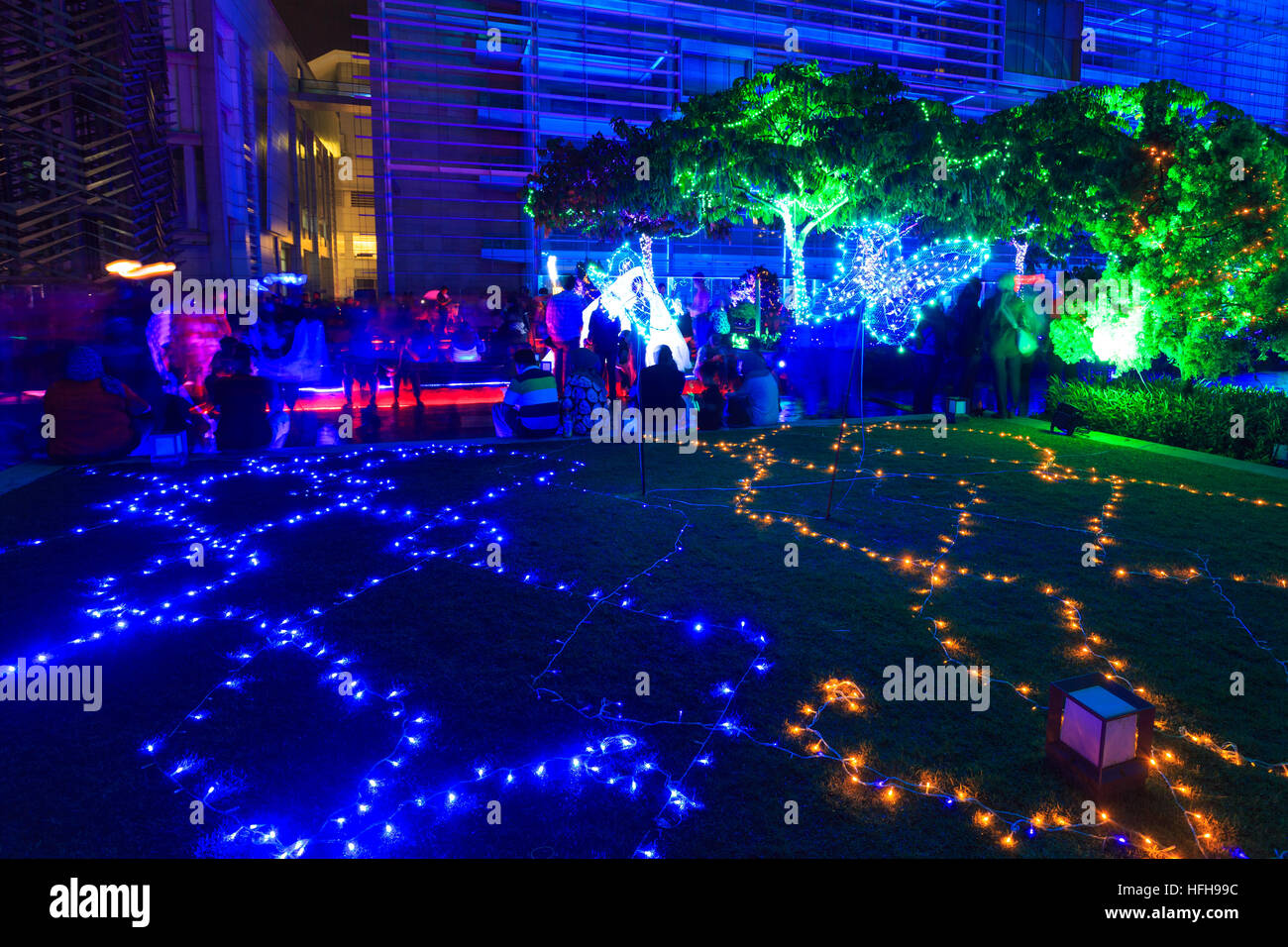 Festival Light And Motion Putrajaya 2016 (LAMPU). A Colourful Light  Projection At Putrajaya Malaysia. Credit: Sharkawi Che Din/Alamy Live News