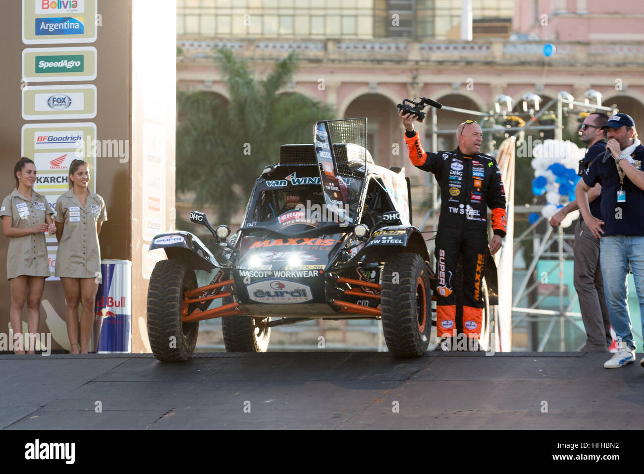 Asuncion, Paraguay. 1st January, 2017. #354 - Maxxis Dakar Team Powered By Super B, driver Tom Coronel with his - Stock Image