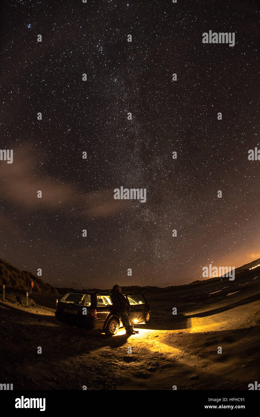 Aberystwyth Wales UK,  Sunday 01 Jan 2017  On a cold clear night, with temperatures dropping to minus 2º celsius, - Stock Image