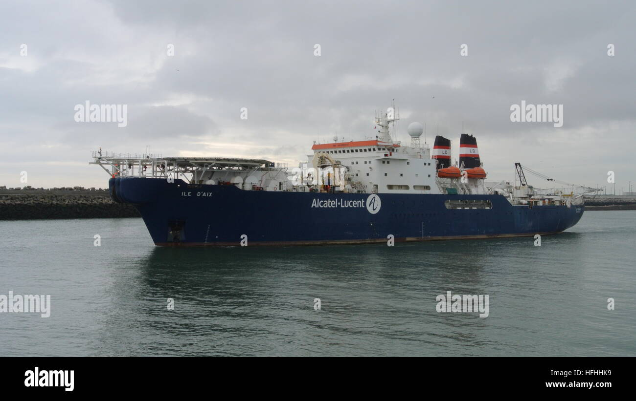 Ile D'Aix cable laying ship departing Calais, France - Stock Image
