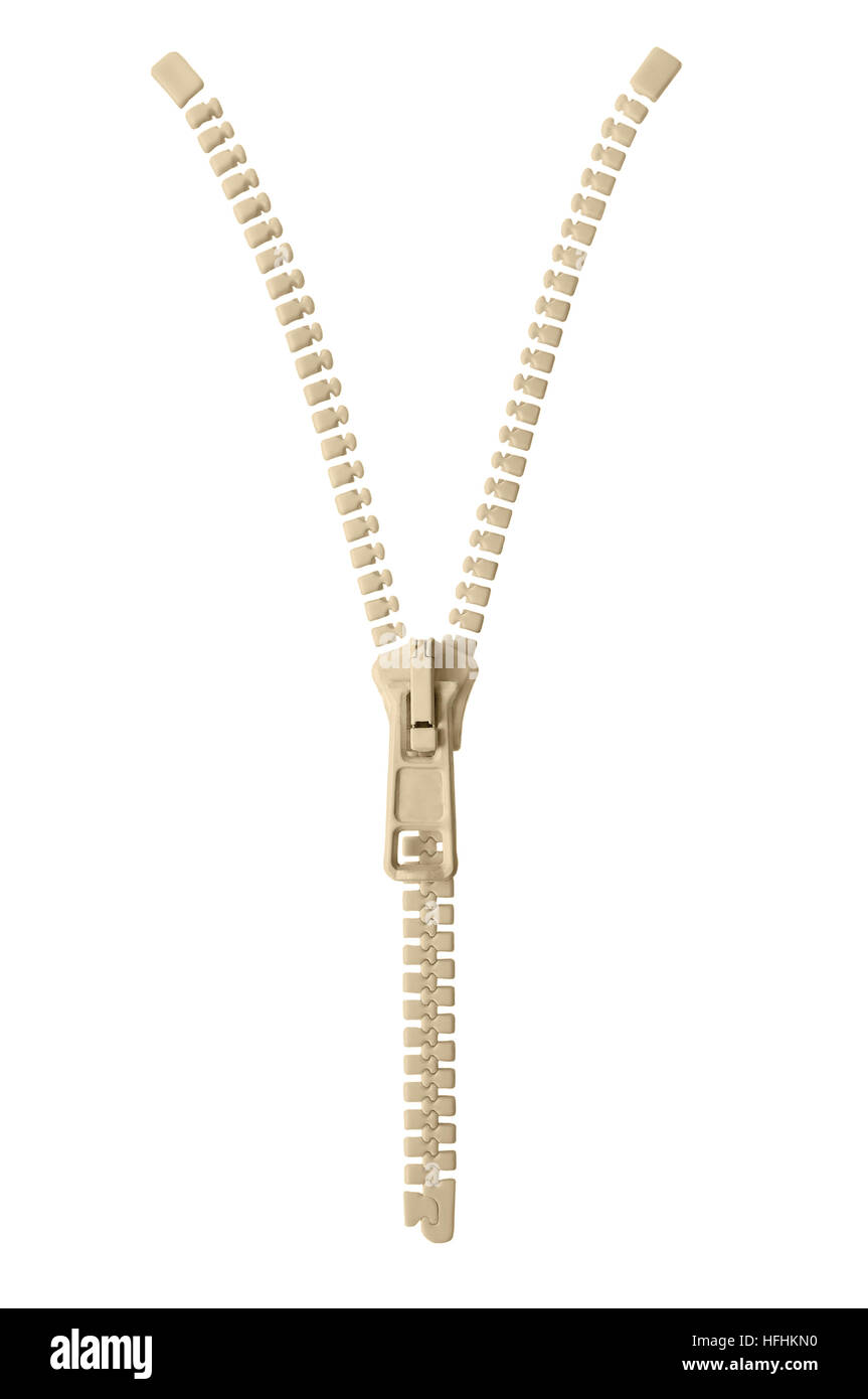 Open beige zipper pull concept unzip metaphor, isolated macro closeup detail, large detailed partially opened half - Stock Image