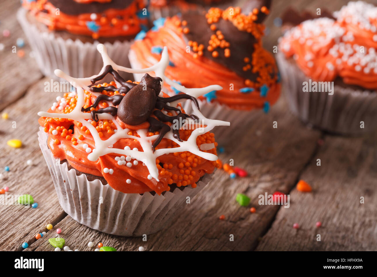 Halloween cupcakes decorated with chocolate spider on the table close-up. horizontal - Stock Image